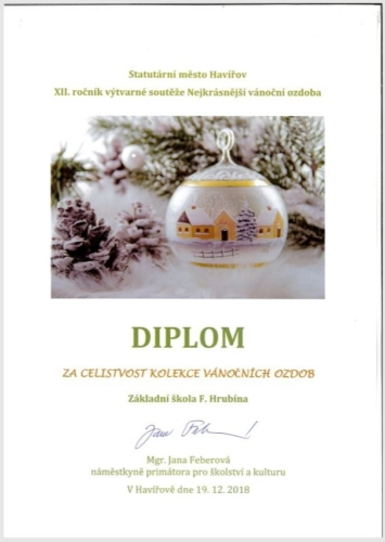 Úspěch ŠD v soutěži havířovských škol o nejkrásnější vánoční ozdobu f01